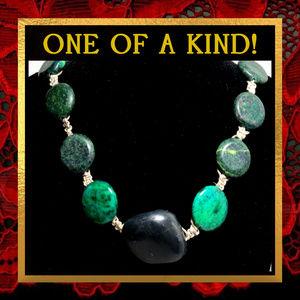 Black & Green Stone Statement Necklace #565
